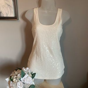 White Sequin Ribbed Tank Top